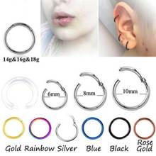 2Pcs Rose Gold Color Septum Rings G23 Titanium Open Small Earrings Women Men Ear Nose Piercing Jewelry