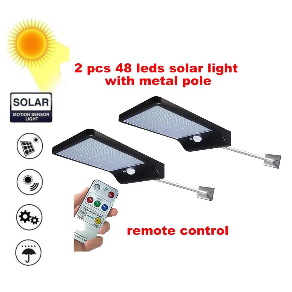2/4pcs PIR Solar Powered Outdoor Motion Sensor Security 48LED Light Ip65 Waterproof & Heatproof Garden Wall Lighting Lamp (Black|Solar Lamps| |  - title=