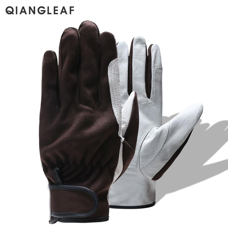 QIANGLEAF Brand Men Gloves Protection Genuine Leather Work Gloves In Safety Glove Outdoor Gardening Working Glove Safety 2730
