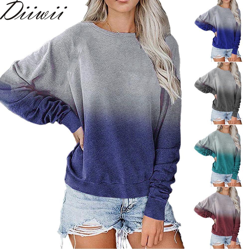 Autumn And Winter Fashion  Hot Sale Ladies T-Shirt O-Neck Long Sleeve Contrasting Color Sequined Top Loose Girls Women's 1