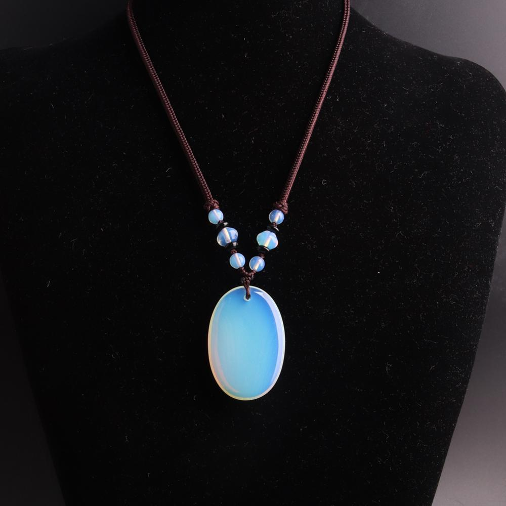 3pcs Hand Knotter String Oval stone necklace Opal pink quartz Natural Stone Beads Energy Women Necklace Women jewelry wholesale