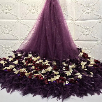 Madison Sequin Lace Fabric High Quality 3D Flower Lace with Beads Nigerian Lace Fabric for Wedding Party