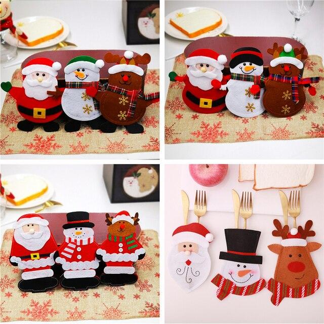 Держатель для столовой посуды в виде кармана, Рождественское украшение, праздничные украшения в виде снеговика, Санта, эльфа, оленя, бесплатная доставка