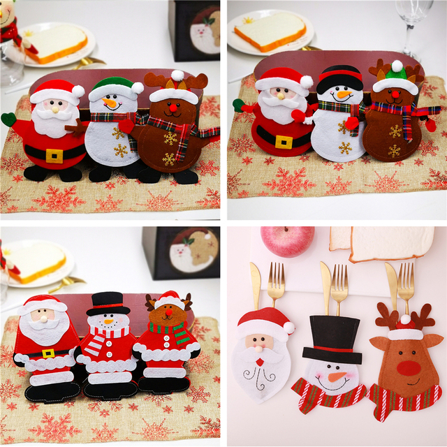 Christmas Cutlery Bag Dinner Tableware Holder Pocket,Xmas Decoration Snowman Santa Elf Reindeer Holiday Ornaments Free shipping