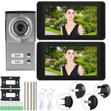 2 Apartments 7inches Touch WIFI Wired Video Door Phone Intercom Doorbell IR Night View apartment wired video door phone audio visual intercom entry system 6 unit