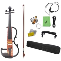 IRIN Full Size 4/4 Violin Solid Wood Silent Electric Violin Maple Body Ebony Fingerboard Pegs with Violin Accessories
