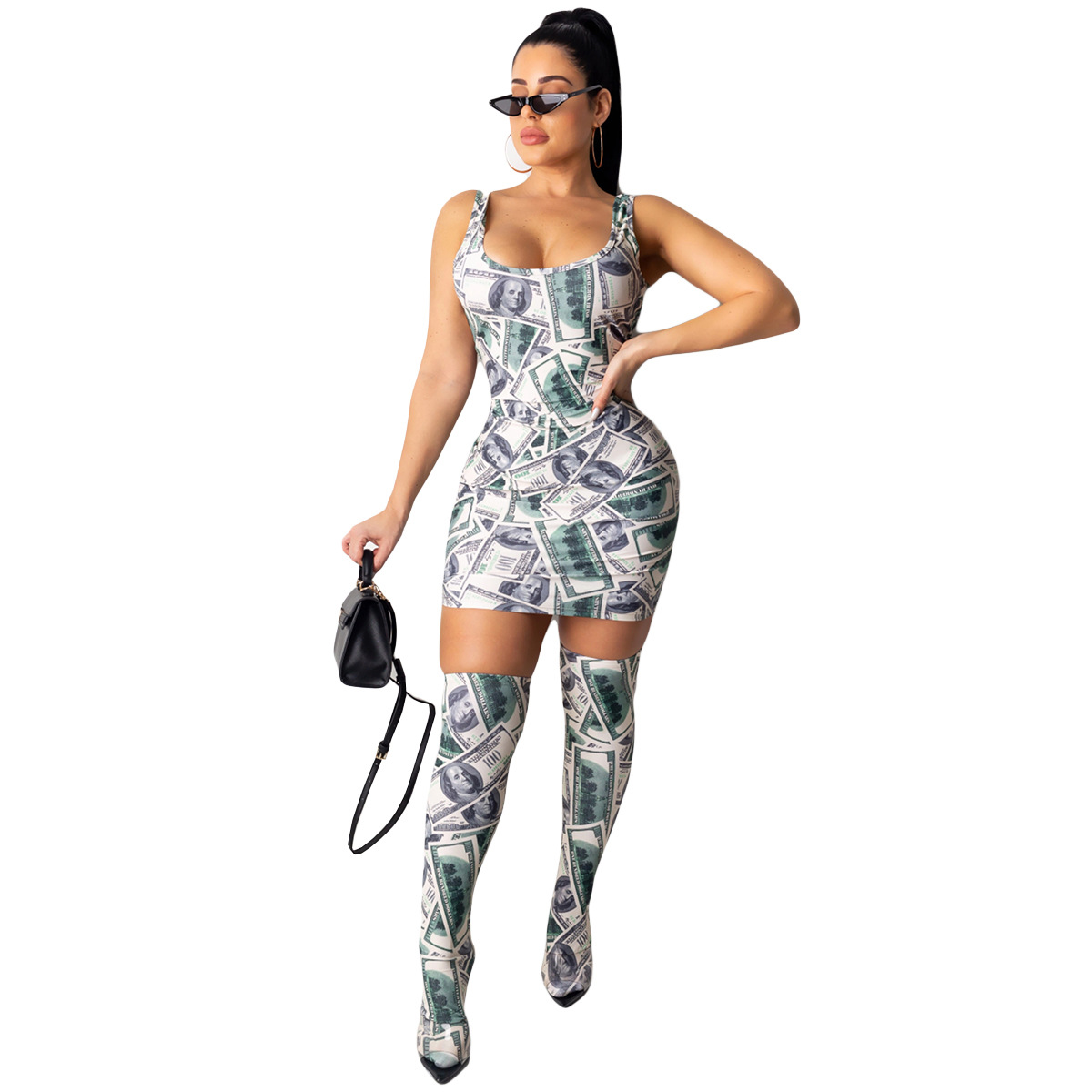 Sexy Fashion Women Mini Dress Included Knee Socks Digital Floral Printed American Flag Dollar Summer Outfits Club Party Sundress 7