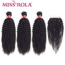 מיס רולה שיער ברזילאי שיער Weave 100% שיער טבעי קינקי מתולתל 3 חבילות עם סגירת ללא רמי שיער הרחבות צבע טבעי