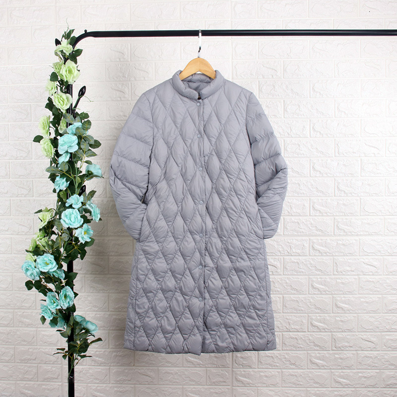 Back Season   Down   Jackets Girls Long Fund Self-cultivation Stand Lead Bai Yarong Will Code Winter Clothes Loose   Coat