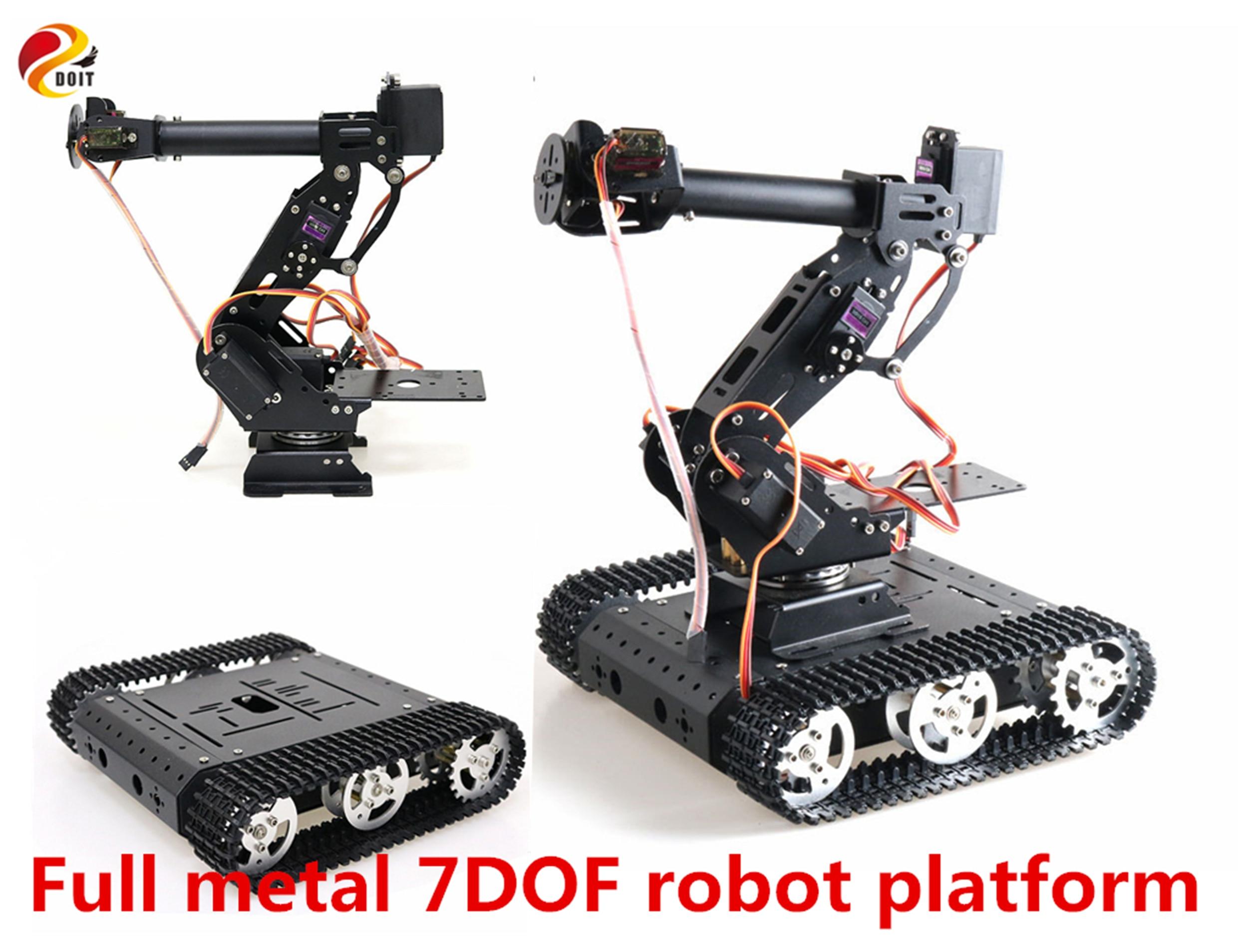 SZDOIT Full Metal Mobile 7DOF Vehicle Robotic Platform 7-axis Robot Arm + TC100 Tank Chassis Kit Servos Motors DIY for Arduino