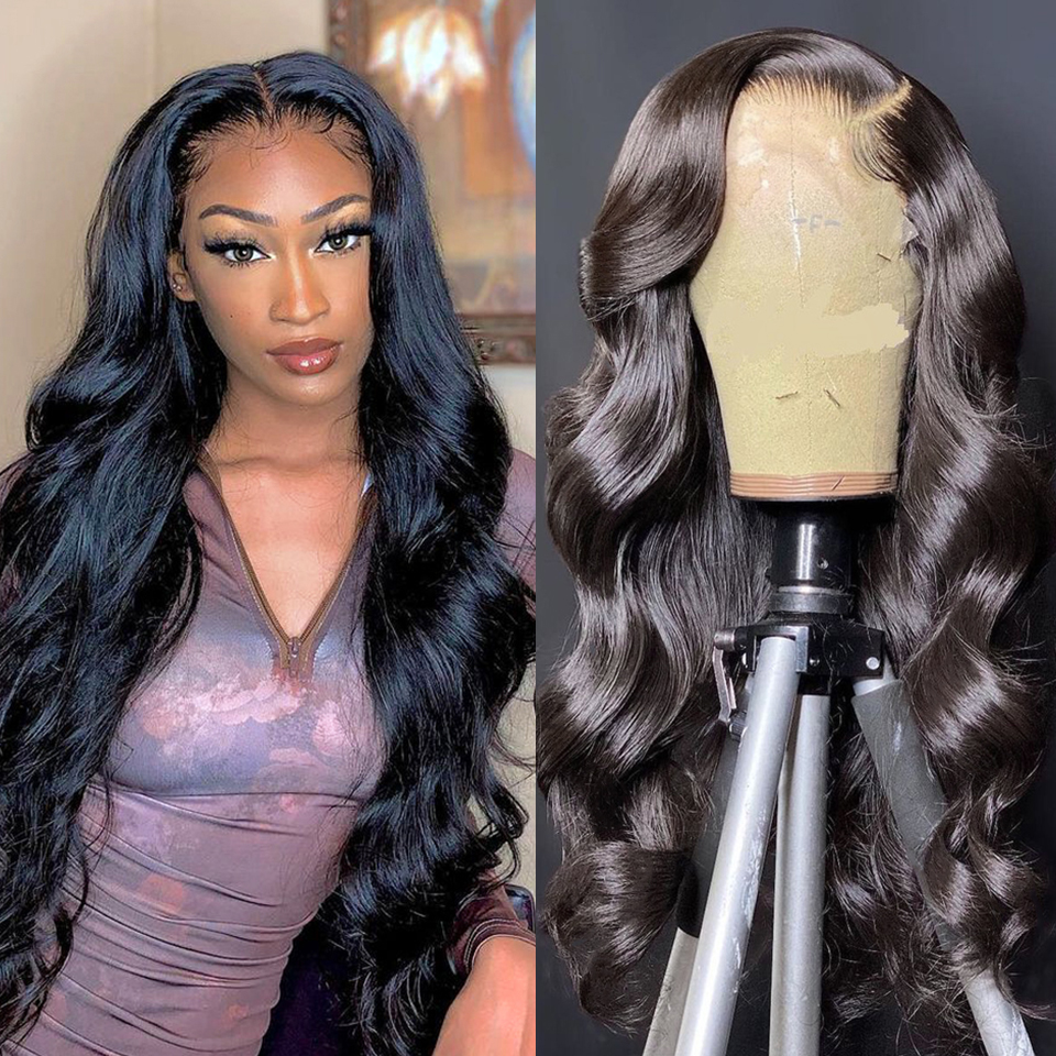 Brazil 180 Density Body Wave Wave Human Hair Wigs 4x4 Lace Closure Wig Hair 8-22 Inch Long Wavy Closure Lace Wigs For Black Wome