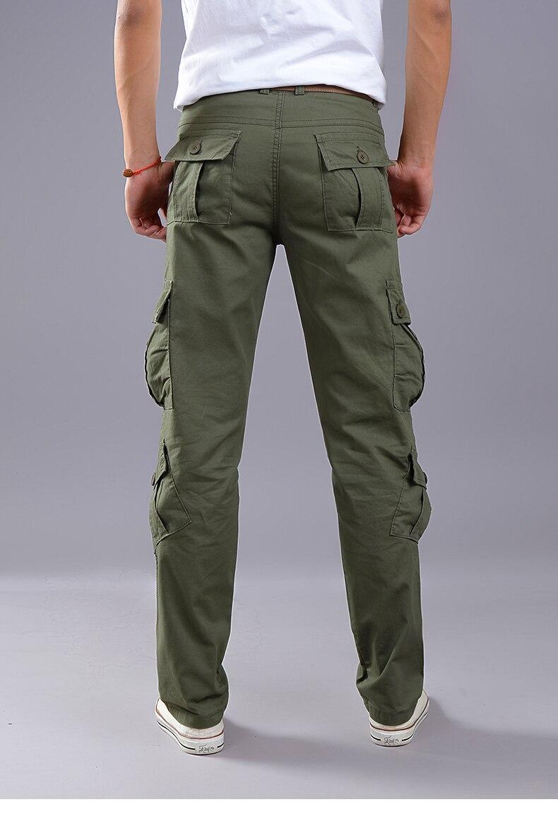 KSTUN Cargo Pants Men Combat Army Military Pants 100% Cotton 4 Colors Multi-Pockets Flexible Man Casual Trousers Overalls Plus Size 38 15
