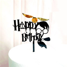 New Cartoon Happy Birthday Acrylic Cake Topper Cute Boy Witch Cake Topper For Kids Birthday Party Cake Decorations Baby Shower