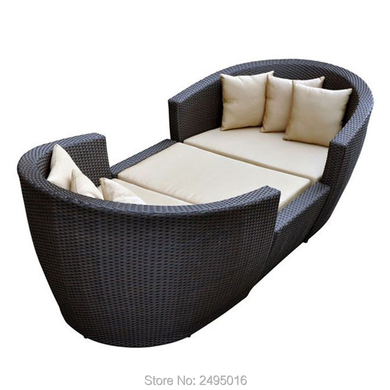 3pcs / Set Balcony Porch Furniture Sectional Sofa /daybed Metal Frame & PE Rattan For All Weather
