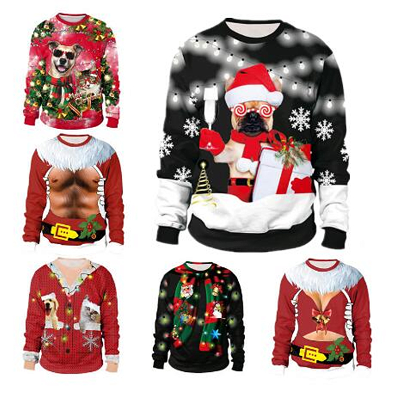 Unisex 2019 Ugly 3D Christmas Sweater For Holidays Santa Elf Christmas Funny Fake Hair Sweater Autumn Winter Blouses Clothing