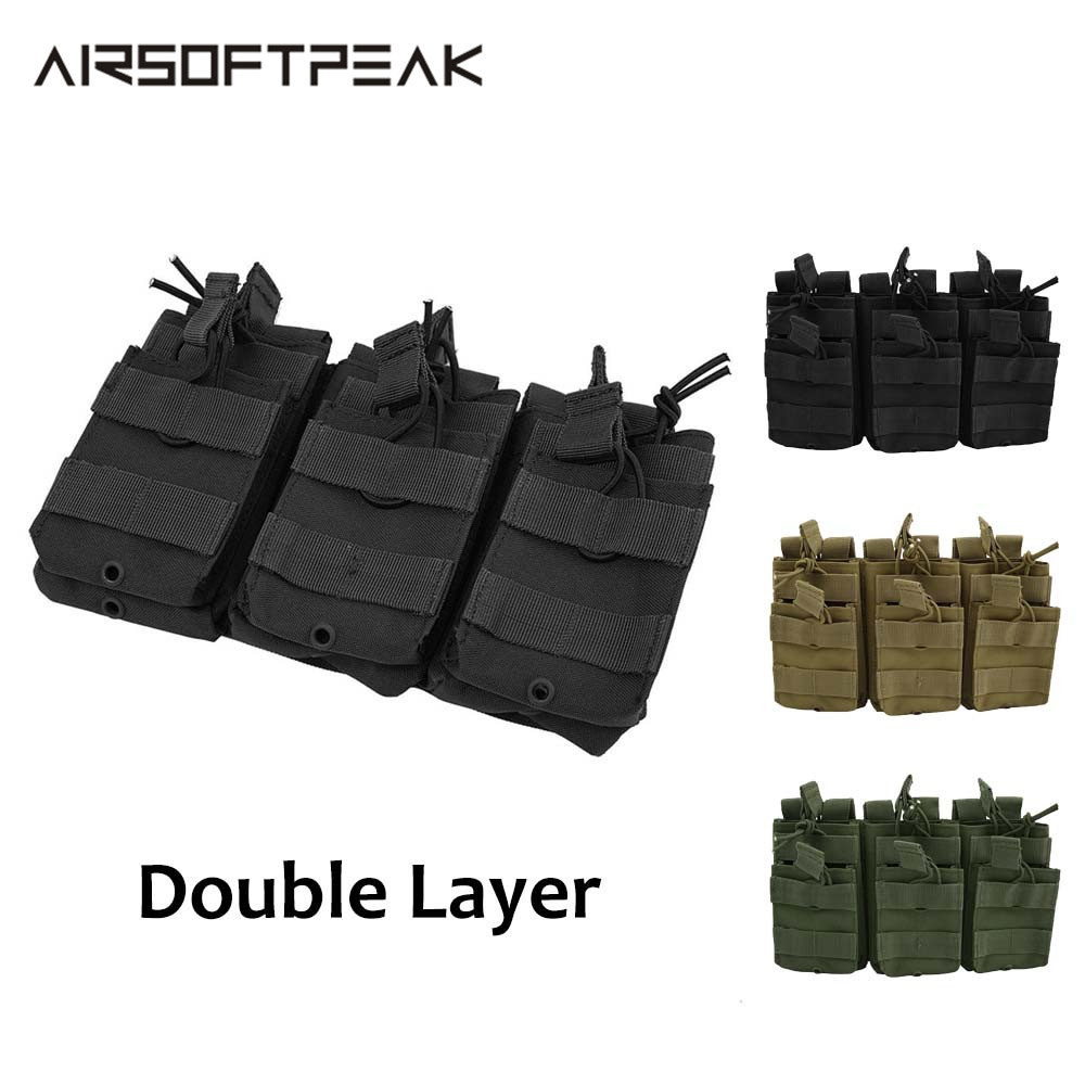 Tactical Nylon Triple Magazine Pouch Double-Layer M4 Military Pouches Hunting Mag Accessories Paintball Airsoft Magazine Bag