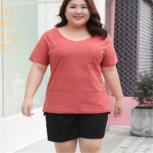 2019 2xl-7xl summer T-shirt womens plus-size loose cotton  for wear