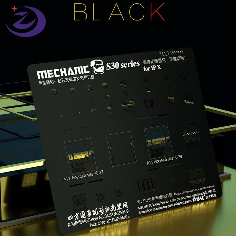 Meccanico S30 0.12 MILLIMETRI In Acciaio Nero Della Maglia BGA Reballing Stencil Ad Alta temperatura 500 °C Per il iPhone XS MAX XR X 8P 8G 7 G 7P 6S 6 5 5s