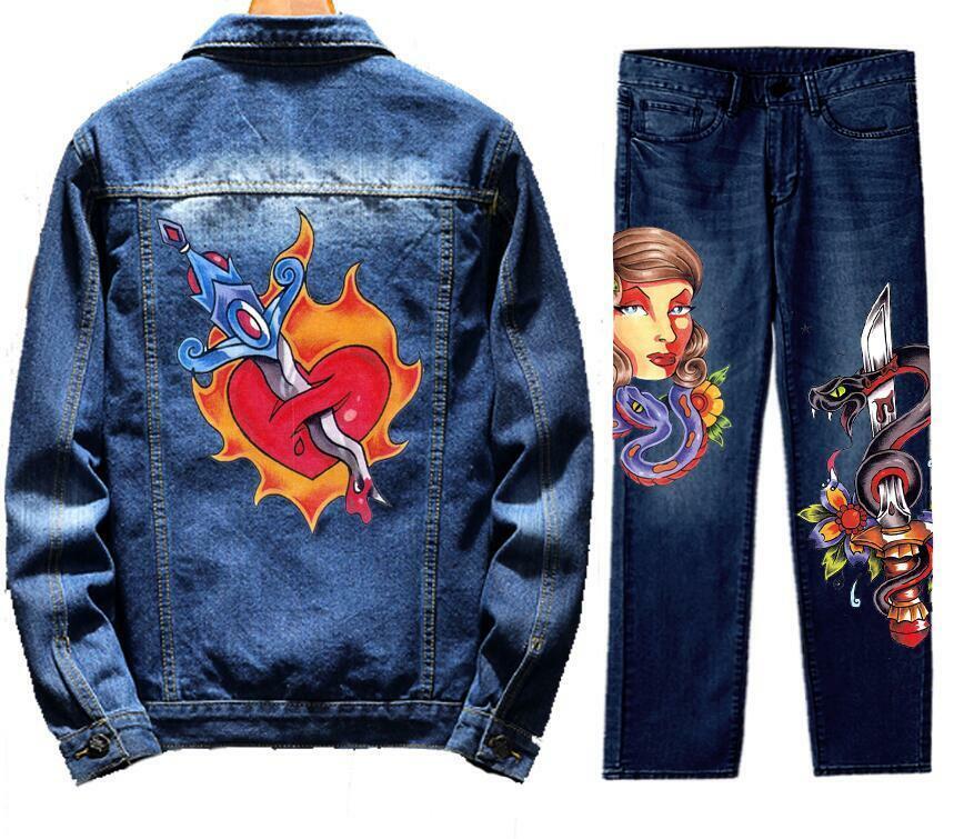 Men's Retro Destroyed Coat Jean Denim Jacket Outerwear Pants Trousers Set Sword Coat Blue 2PC