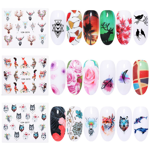 1 Sheet Animals Nail Stickers Water Decals Flower Mixed Patterns Colorful Transfer Sticker Paper Nail Art Decoration DIY Design
