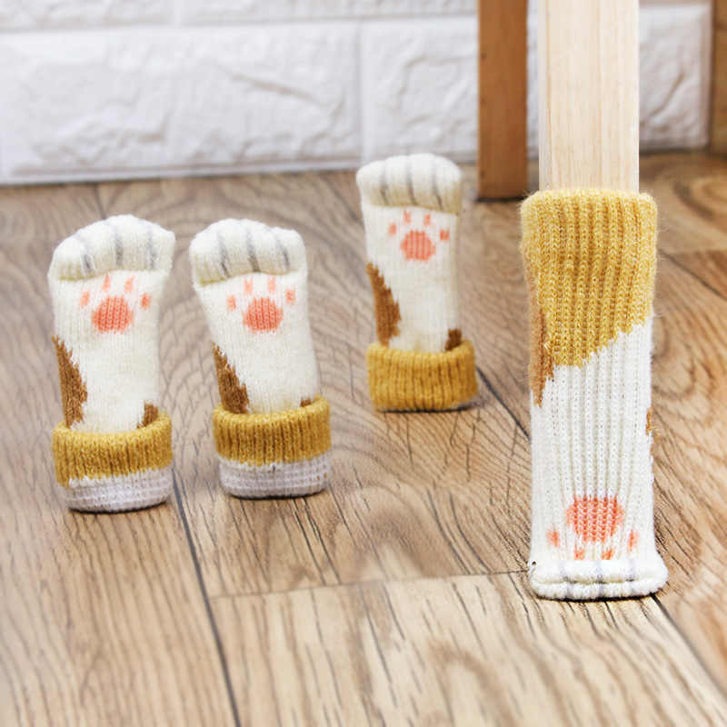 2PCS Floor protection chair foot pad Leg Furniture Wool Knitting Cover Chair Cat Pads Floor Paw Protector Socks Table