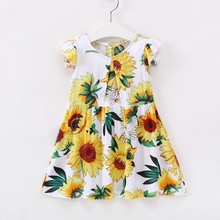 New Summer Children Dress Kids Girls Sleeveless Sunflower Print Lace Up Soft Cotton Princess Dresses Clothes Floral Clothing 40 summer floral girls clothes sleeveless cotton trumpet pattern girls dresses fashion floral backless kids girls clothing