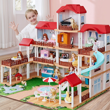 Plastic Villa Doll House Assembly Bed Stairs Luxury Castle Fairy Window Doll House Accessories Domek Dla Lalek Kids Toys DG50DH