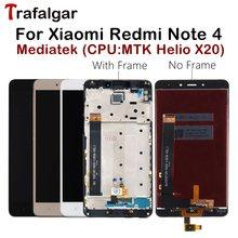 MTK هيليو X20 عرض ل شاومي Redmi نوت 4 LCD عرض نوت 4 شاشة تعمل باللمس ل Redmi نوت 4 LCD مع الإطار الهاتف المحمول شاشات الكريستال السائل