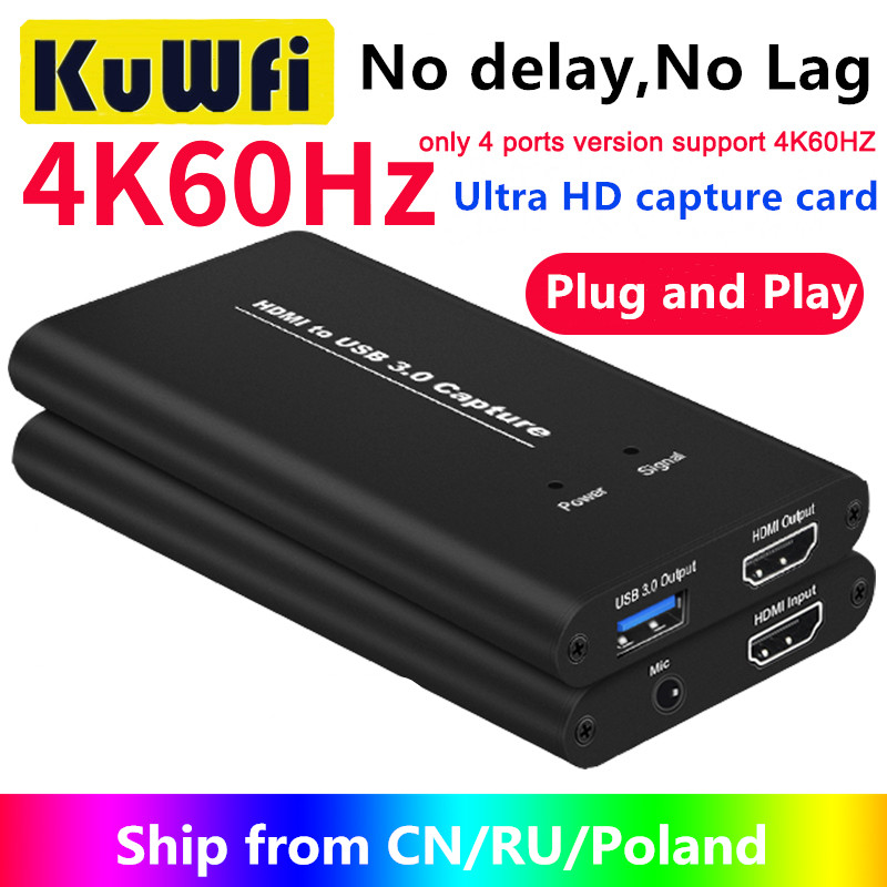 KuWFi 4K Video Capture USB3 0 HDMI to USB Video Capture Card Dongle Game Streaming Live Stream Broadcast with MICinput