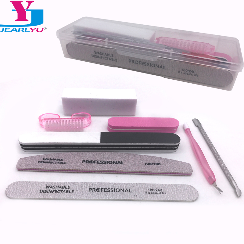 8 Pcs/Set Nail File Buffer UV Gel Polish Buffer Block Cleaning Brush Nail Files Cuticle Pusher Manicure Tools Kits With VIP Box