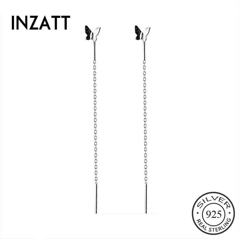 INZATT Real 925 Sterling Silver Minimalist Butterfly Tassel Drop Earrings For Elegant Women Party Fine Jewelry Accessories Gift