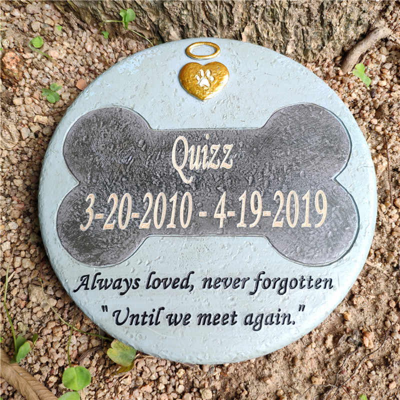 Personalized Round Shape Dog Bone Grave Marker Tombstone Black-Grey Color And Stone-Like Design Mak For JSYS