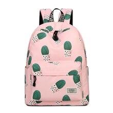 Waterproof Fairy Ball Plant Printing Backpack Women Cactus Bookbag Cute School