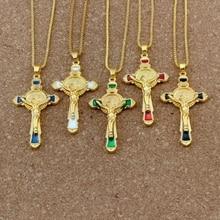 купить 1pcs /lots  Enamel Saint Benedict medal cross crucifix Alloy Charms Pendant Necklaces Jewelry DIY 23.6 inches Chains A-558d онлайн