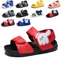 Летняя новая мягкая Нескользящая пляжная обувь, Капитан Америка, Человек-паук, Микки, открытые детские сандалии, дикая детская обувь для мал...