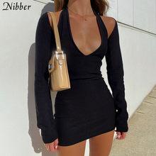 Nibber Frauen Bodycon Halter Stricken Low-Cut Kleid 2 Stück Outfit Herbst Solide Mini Casual Strewear 2020 Büro Dame einfache Clother