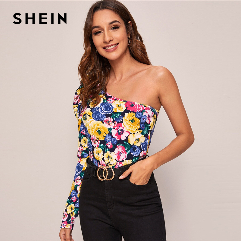 SHEIN Multicolor One Shoulder Gigot Sleeve Floral Print Top Women Spring Summer Slim Fitted Sexy Night out T-shirts 2