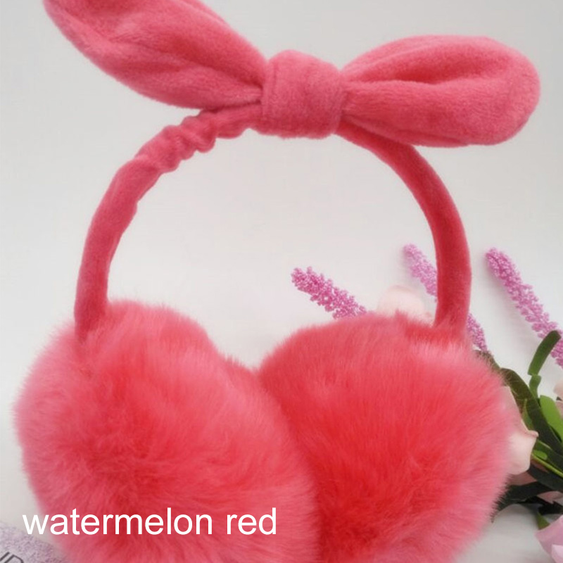 Cute Sweet Imitation Bunny Fur Women Earmuffs Candy Color Soft Plush Winter Earmuff Bow Ear Warmer Girls Ear Muff Ear Cover