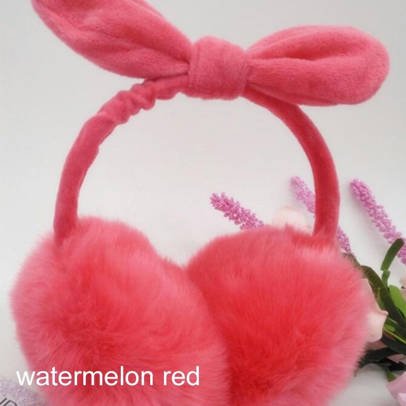 Cute Sweet Imitation Bunny Fur Women Earmuffs Candy Color Soft Plush Winter Earmuff Bow Ear Warmer Girls Ear Muff Ear Cover