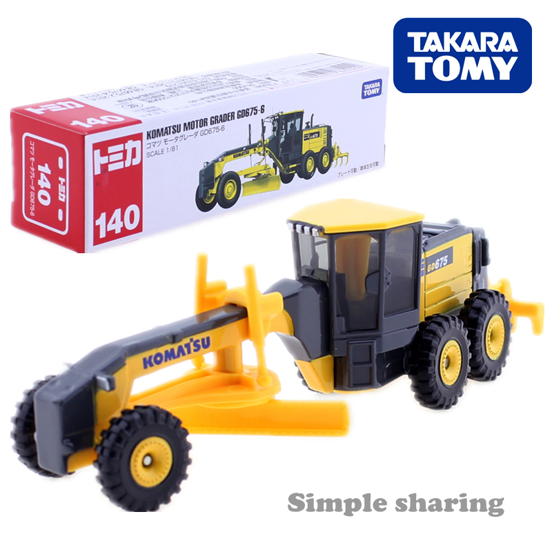 Tomica Long Type No.140 Komatsu Motor Grader GD675-6 1:81 Takara Tomy Metal Cast Toy Car Model Vehicle Toys For Children New