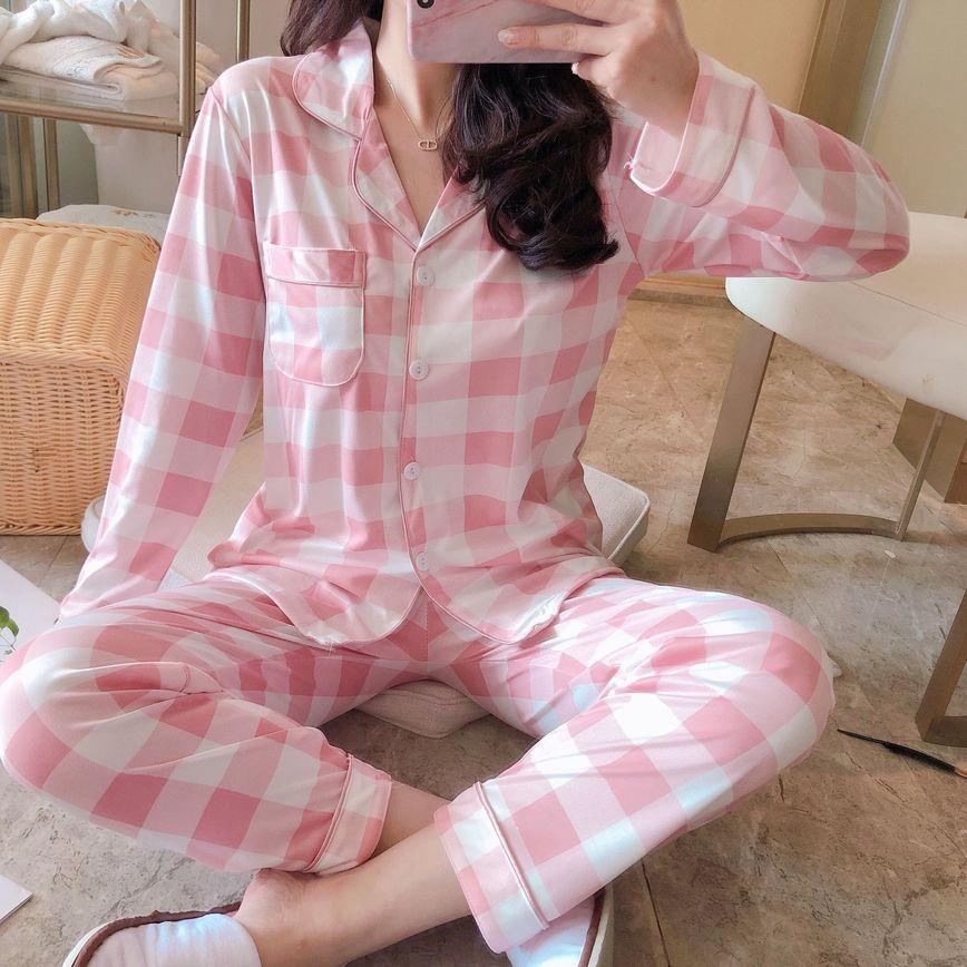 Women's Fresh Pajamas Set Milk Cotton Comfort Pajamas Pants Set Long Sleeve Spring And Autumn Plaid Pajamas
