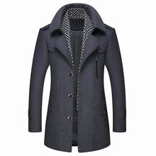 Winter woolen overcoat men's medium long thickened cotton slim fit middle-aged and young men's tweed windbreaker casual coat