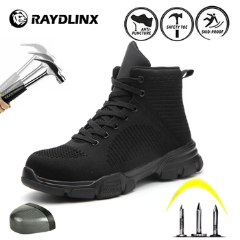 RAYDLINX Safety Shoes Breathable Mesh Steel Toe Men Outdoor Anti-Slip Puncture Proof Protective Safety Shoes men s outdoor safety boot breathable mesh steel toe anti smashing safety shoes men s light puncture proof comfortable work shoes