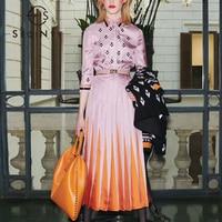 SEQINYY Pleated Dress 2020 Summer Spring New Star Fashion Design Geometric Print Purple Orange Gradient Midi Dress