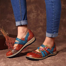 Spring Vintage Floral Genuine Leather Splicing Colored Stitching Hook Loop Shoes Women Flat Shoes Slip-on Round Toe Shoes D30 floral shoes female 2018 genuine leather women s flat shoes handmade slip on stitches flats round toe comfort shoes for women