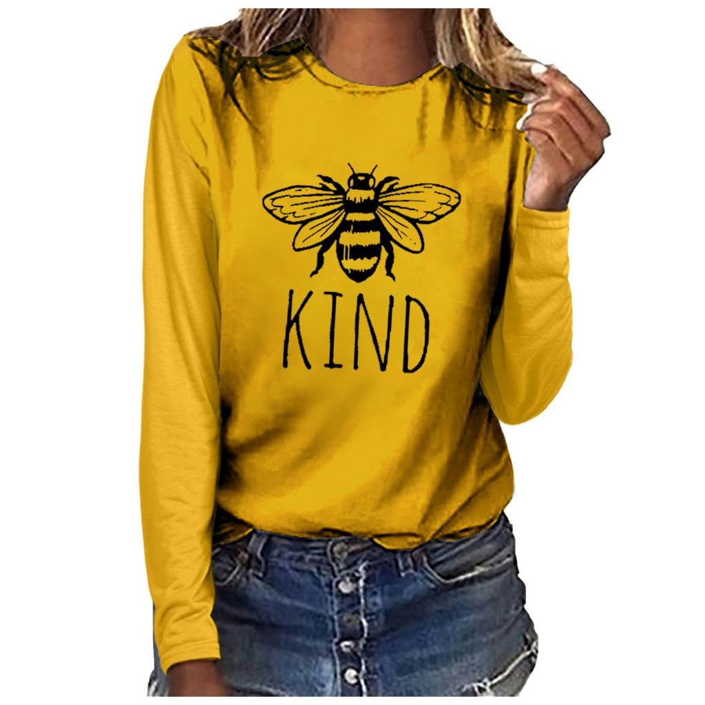 Bee Printed T Shirt Women Plus Size Letter Tee Shirt Femme Ladies Casual Long Sleeve T-shirt Top Camisa Feminina Women T-shirt
