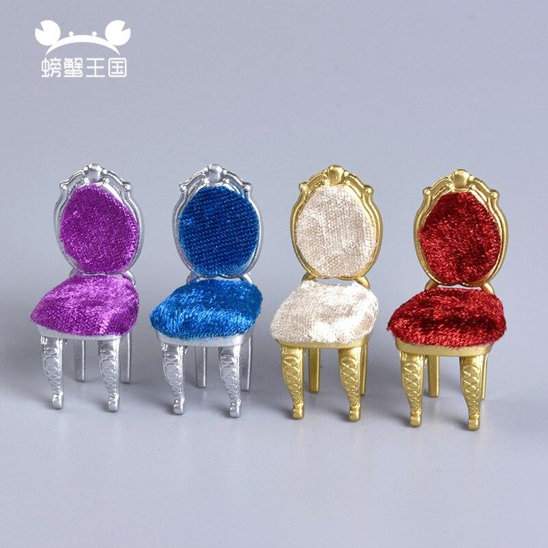 4pcs Dollhouse European Style 1:25 Scale Chair Model Mini Furniture Miniature Doll Accessories Sand Table Material