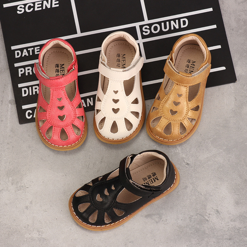 Summer Girls Sandals Fashion Princess Retro Soft Leather Shoes Microfiber Upper Comfortable Non-slip Baby Kids Sandals