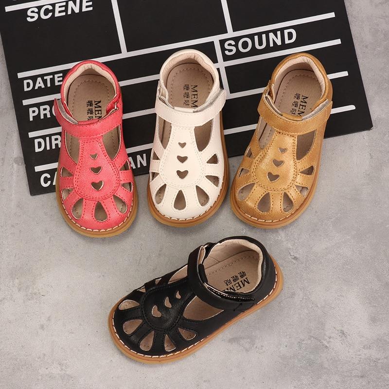 Summer Girls Sandals Fashion Princess Retro Soft Leather Shoes Microfiber Upper Comfortable Non-slip Baby Kids Sandals