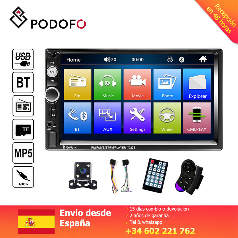 Podofo 7'' Car radio 2 din Digital Display Touch Screen Bluetooth Autoradio MP5 Stereo Multimedia Player MP5 image